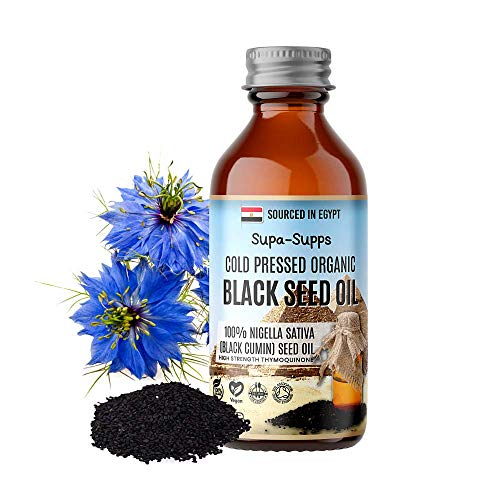Supa Supps Black Seed Oil – Cold-Pressed Organic Black Seed Oil – Vegan and Easy Digest Oil - High Strength Formula with Thymoquinone – Lighter Taste – Great for Food and Drink Recipes