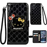 iPhone 12 Pro Max Hello Kitty Wallet Case,Bling Mirror Bowknot PU Leather Purse Card Slot Pouch Flip Cover Kickstand Case for Girl Woman Lady (Black,iPhone 12 Pro Max -6.7')
