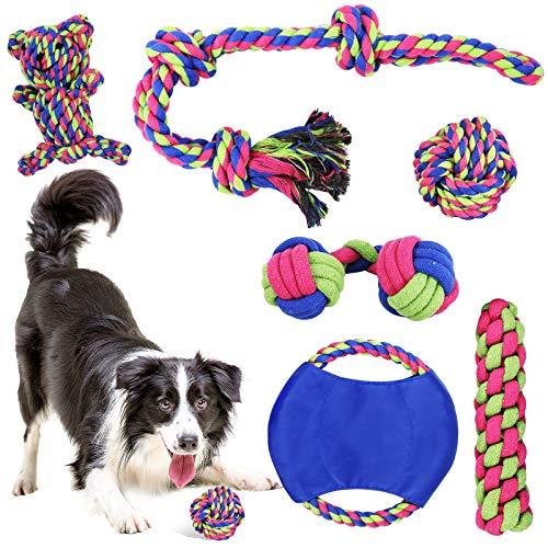 PHYLES Juguetes para Perros, 6 Piezas Juguete Perro Masticable, Juguetes de Durable Masticable Cuerda, Pelotas, Frisbee para Perros, Cuidado Dental para Perros Medianos Pequeños