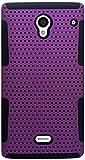 Eagle Cell Sharp Aquos Crystal Hybrid TPU Mesh Net Case - Retail Packaging - Black/Purple