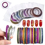Vanchief 30Pcs Nail Striping Tape Line,Multicolor Glitter Matte Texture 3 Specifications Nail Art Decoration Sticker With One Pieces Nail Tape Dispensers DIY Nail Tip