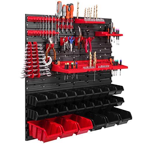 26 cajas apilables, soporte de herramientas, estante de pared, estantería de taller, pared de herramientas, 78 x 78 cm, sistema de almacenamiento, estante extrafuerte, estante de pared ampliable