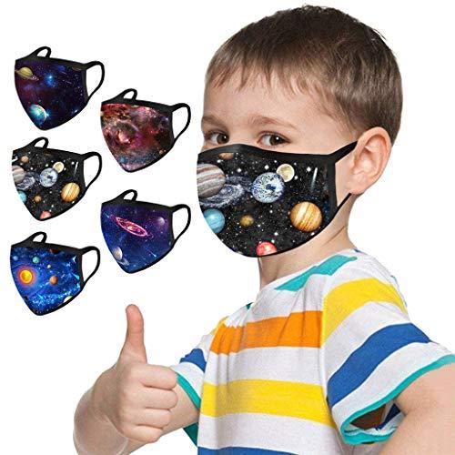 Lulupi 10 Stück Kinder Mundschutz Multifunktionstuch 3D Cartoon Druck Maske Waschbar Baumwoll Stoffmaske Atmungsaktiv Mund-Nasen Bedeckung Universum Planet Motiv Halstuch Schals Jungen Mädchen