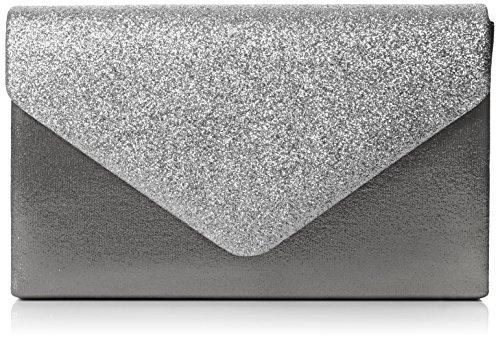 SwankySwans Womens Kelly glitter busta pochette partito Prom borsa frizione, argento (Silver (Silver)), Taglia unica