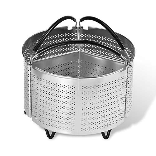 Suppemie Sordina para verduras, accesorio para cocinar al vapor, cesta de acero inoxidable, cesta de vapor, cesta de acero inoxidable, adecuada para todo tipo de ollas eléctricas