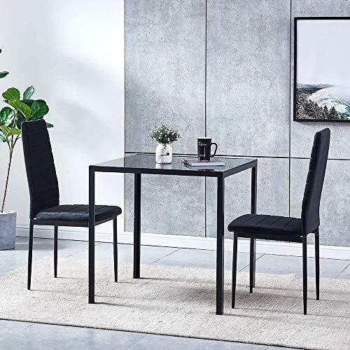 Conjunto compacto moderna mesa de comedor, mesa cuadrada con dos sillas de terciopelo,Black