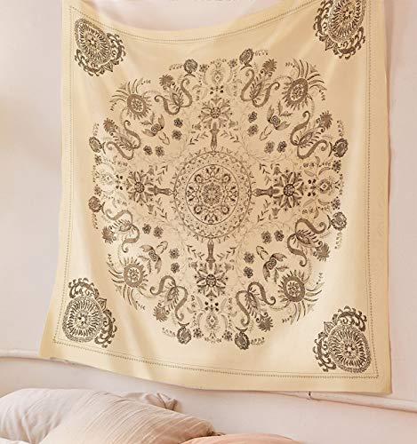 SheetKart Mandala Tapestry Wall Hanging, Indian Cotton Printed Medallion Floral Art, Wall Decor Tapestries - X-Small, Beige