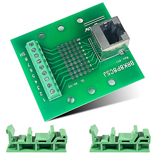 RJ-45/8P8C to Screw Terminal Adaptor Connector Breakoutout Board for Ethernet DMX-512 RS-485 RS-422 RS-232 (RJ-45-Terminal-UP)