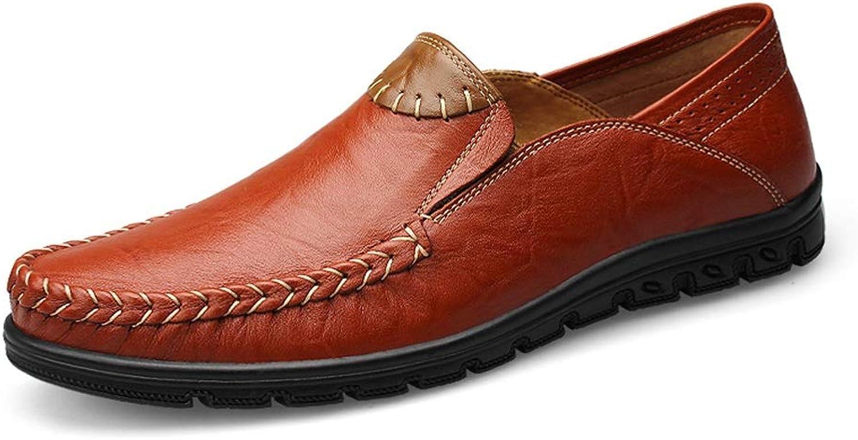 L.W.SURL Slipper Herren Echtes Leder Casual Casual Slip On Mokassin Loafers Atmungsaktive Fahrschuhe Leicht  100% echte Gegengarantie