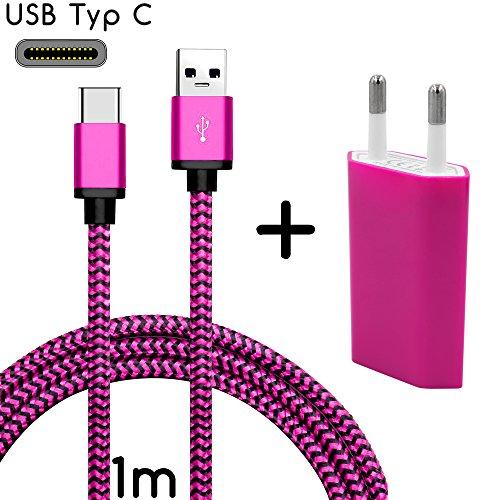 Coverlounge - Nylon USB Typ C Ladegerät Ladekabel mit Netzstecker/Netzteil kompatibel für alle LG Smartphones mit USB Typ C Anschluss | Farbe: pink | Länge: 1 Meter / 1m