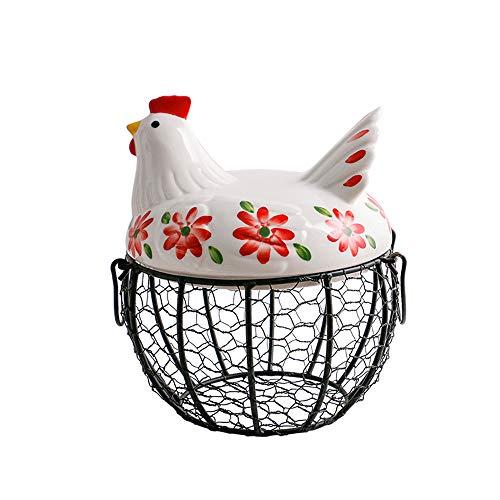 LICHAO Schmiedeeisen gewebter Eierkorb mit Keramikdeckel, Küchendekoration Kreative Hühnerform Aufbewahrung Eisenkorb für Eier, Früchte, Knoblauch, Kartoffeln und andere Rückstände