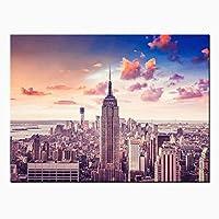 キャンバスウォールアートHd絵画ニューヨーク市の建物のポスターとプリント空中写真リビングルームの家の装飾-60x90cmフレームなし