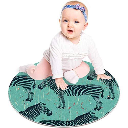 Alfombra antideslizante con diseño de animales de cebra, 23.6 pulgadas, alfombra redonda para dormitorio de niños, habitación de bebé, sala de juegos, guardería