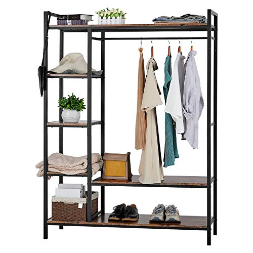 kealive Freestanding Closet Organizer Heavy Duty Clothing Rack with Shelves, Industrial Wood Wardrobe Garment Rack for Hanging Clothes and Storage (Brown)