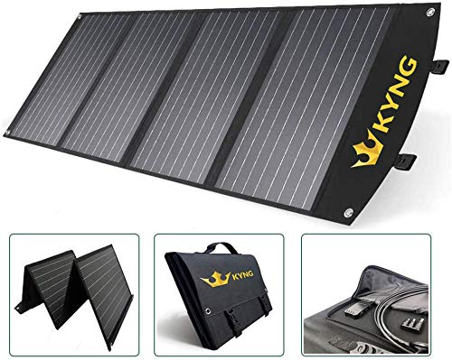 KYNG 120W Solar Panel Charger Portable Solar Panel 120 Watts Foldable Solar, Waterproof, RV Solar Kit, Camping, Fast Charging 18V with 3 USB Ports Charge Any Device