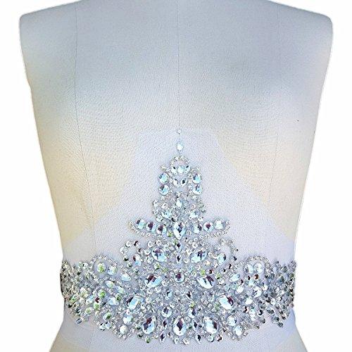 Nieuwe Exquisite Pure Handgemaakte Zilver Heldere Crystal Patches Naai-op Strass Applique met Stenen Pailletten Kralen voor Bruidsjurk DIY Handmatige accessoires Riem Taille Decoratie 18x36cm (zilver)