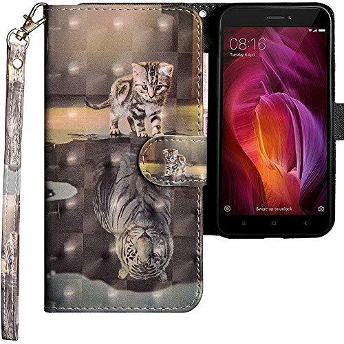 CLM-Tech kompatibel mit Xiaomi Redmi Note 4 Hülle, Tasche aus Kunstleder, Katze Tiger grau, PU Leder-Tasche für Xiaomi Redmi Note 4 / Note 4X Lederhülle