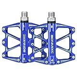 BONMIXC Pédales de vélo BMX 9/16' - Roulement scellé - Pédales de VTT - Bleu