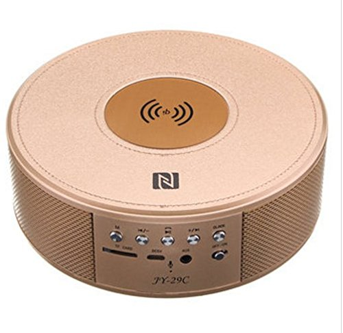 MASUNN Jy-29C Qi trådlös laddare Bluetooth trådlös Nfc högtalare musikspelare med väckarklocka Guld