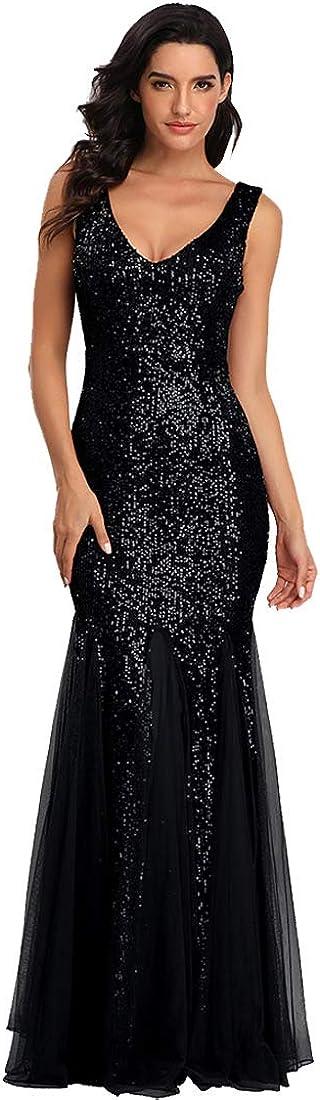 Sleeveless Double V-Neck Long Mermaid Sequin Formal Evening Dresses