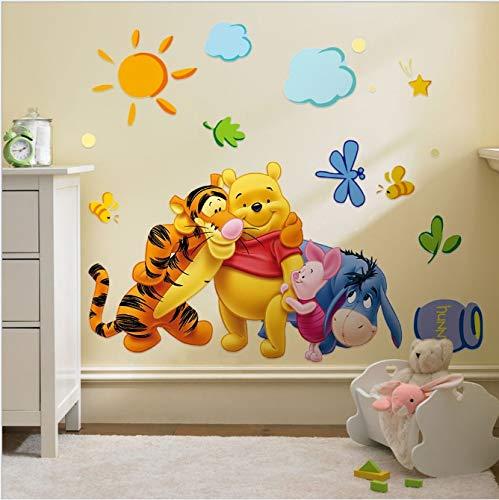 AINSS Winnie The Pooh Amigos Pegatinas de Pared para niños Habitaciones Pegatina Decorativa adesivo de Parede calcomanía de Pared de PVC extraíble