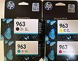 HP 963 - Juego de 4 cartuchos de tinta originales para HP Officejet Pro 9010, 9012, 9015, 9016, 9019, 9020, 9022 y 9025