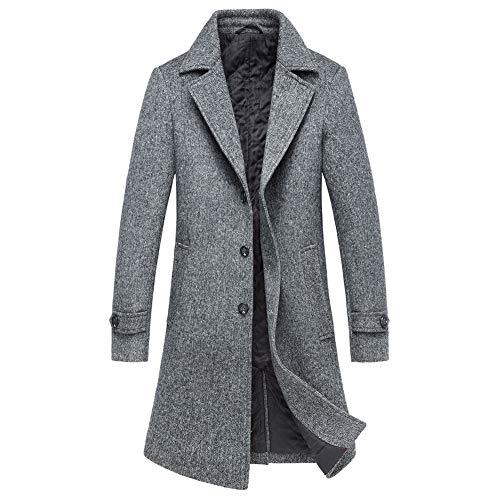 OJKYK Herren Warm Wollmantel Trenchcoat Revers Einreihig Gestepptes Baumwollfutter Winter Jacke Business,Grau,M