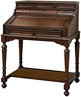 10-Drawer Secretary Desk Warm Brown