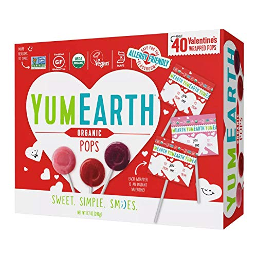 Yummy Earth Organic Valentine#039s Day Exchange Lollipop Suckers  About 40 Count 87 Oz Total