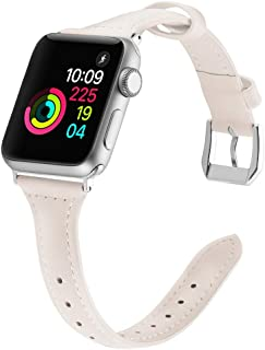 Simpeak Slim Band Comapatible with Apple Watch 38mm 40mm 42mm 44mm, Genuine Leather Wristband Strap with Metal Buckle Replacement for Apple Watch
