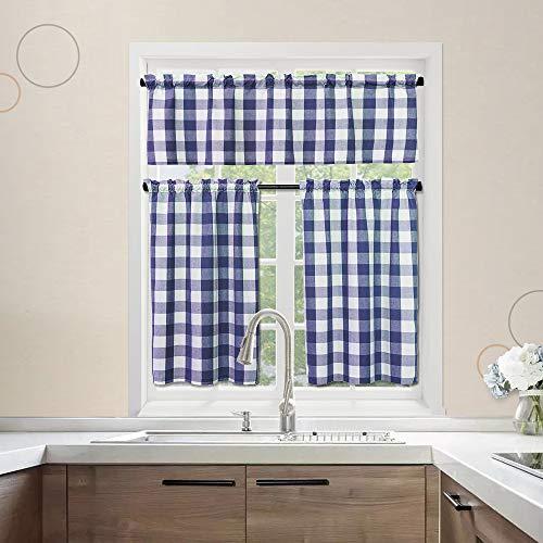 "NATUS WEAVER 3 Pc Cotton Classic Country Farmhouse Kitchen Window Curtain -Navy Blue & White Buffalo Check Tier & Valance Set, 54"" x 18"" / 27"" x 36"""