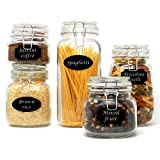 Set of 5 Clip Top Glass Storage Preserving Jars | 10 Reusable Stickers & Chalk Pen | Assorted Collection of Airtight Vintage Dry Food Containers | M&W