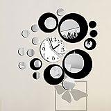 Auntwhale Creative Noir Rond Grand Horloge Murale Miroir Horloge Murale Mode Moderne...