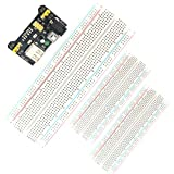 SUBALIGU 3PCS Breadboards Kit Include MB-102 830 Point Breadboard Solderless with Power Supply Module for Proto Shield Distribution Connecting Blocks,Protoboard Prototype PCB Board Kit