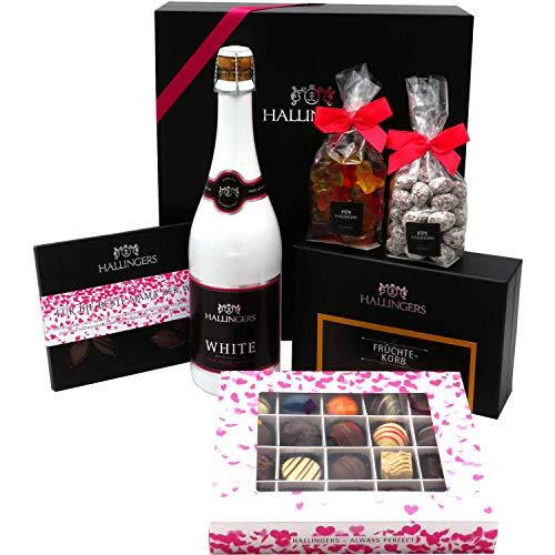 Hallingers Muttertag Geschenk Set - Schokolade, Pralinen, Sekt, Tee, Nougatmandeln und Gummibärchen in premium Box (1.435g) - Muttertag Big Box Pink (Genussbox) - zu Muttertag & Vatertag StayHome