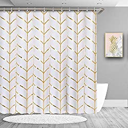 True Holiday Gold Stripe Shower Curtain
