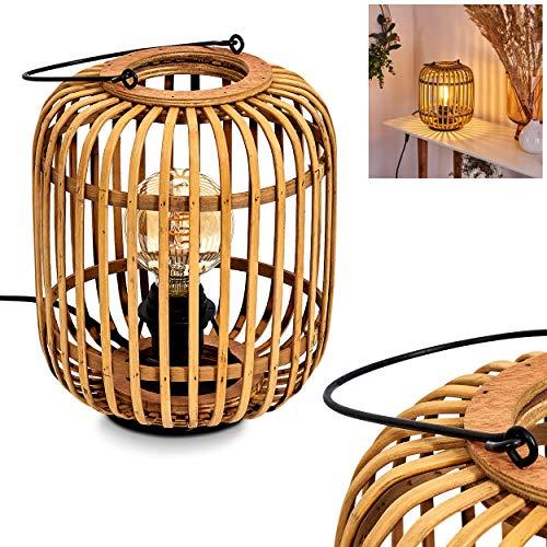 Tischleuchte Mongolei, Nachttischlampe aus naturfarbenen Bambus, 1-flammige Tischlampe im Boho Style, 1 x E27 max. 60 Watt, Schalter am Kabel, geeignet für LED Leuchtmittel