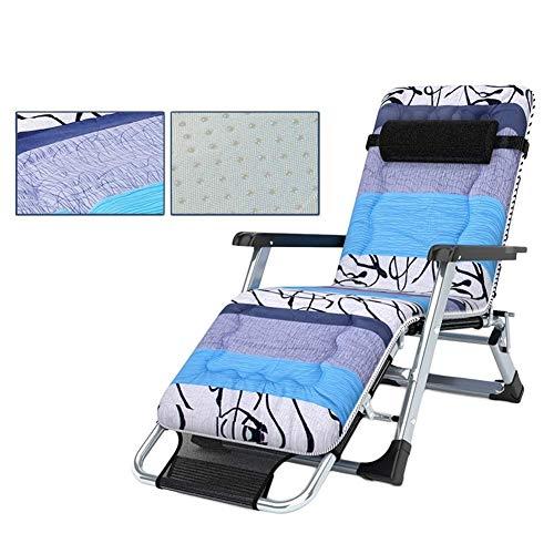 CHAIRQEW Übergroße Terrassenliege Schwerlast-Schwerelosigkeits-Liegestuhl, klappbarer Garten-Sonnenliegestuhl mit Verstellbarer Auflage200 kg (Color : Black+Non-Slip Cotton pad)