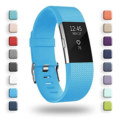 """Correa de repuesto para Fitbit Charge 2, correa de repuesto para accesorios suaves, cierre de metal seguro para Fitbit Charge 2 (6,7 – 8,1"""") – azul cielo"""