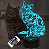 Regalos para gatos y mascotas para niños niñas, ilusión 3D Lámpara LED para gatos Luz nocturna con control remoto 16 colores que cambian la decoración Lámparas de noche