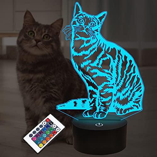 Cat Pet Geschenke für Kinder Mädchen, 3D Illusion LED Cat Lampe Nachtlicht mit Fernbedienung 16 Farben Wechseldekoration Nachttischlampen