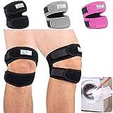 2 Pack Rodilleras para el tendón de la rótula que ayudan a aliviar el dolor de la artritis, rodilleras ajustables para correr & recuperación de lesiones Con Bolsa de lavanderia - Negro