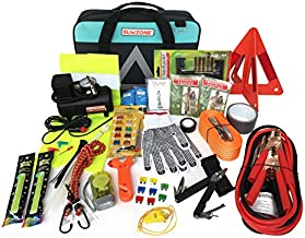 BLIKZONE - Roadside Emergency car kit Aqua. 81 Pc Emergency car kit. Portable Air Compressor, Jumper Cables, Tire Repair Kit, Led Flash Light and Essential Tools for Roadtrips