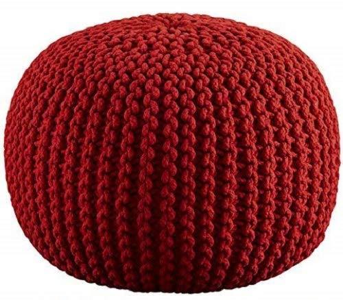 RAJRANG BRINGING RAJASTHAN TO YOU Pouf Rotondo - D-50 x H-35 cm - Colore Rosso - Pouf Decorativo per la Camera dei Bambini - Sgabello Decorativo in Corda per la casa e l'arredamento