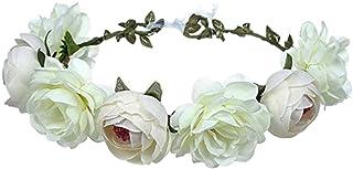 1 pcs Handmade Adjustable Flower Wreath Headband Halo Floral Crown Garland Headpiece Wedding Festival Party,rose bridal wr...