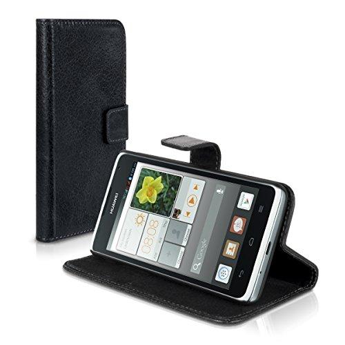 Carlsson Leder Case Hülle für Huawei Ascend Y530 - Wallet Flip Tasche aus Leder mit Standfunktion in Schwarz - 5