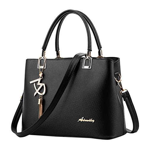VJGOAL Damen Schultertasche, Frau oder Mutter Geschenk Damenmode luxuriöse Leder Crossbody Schulter Messenger Party Bag Handtasche (29 * 13 * 21cm, Schwarz)