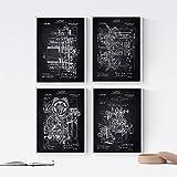 Nacnic Negro - Pack de 4 Láminas con Patentes de IMPRENTAS. Set de Posters con inventos y Patentes A...