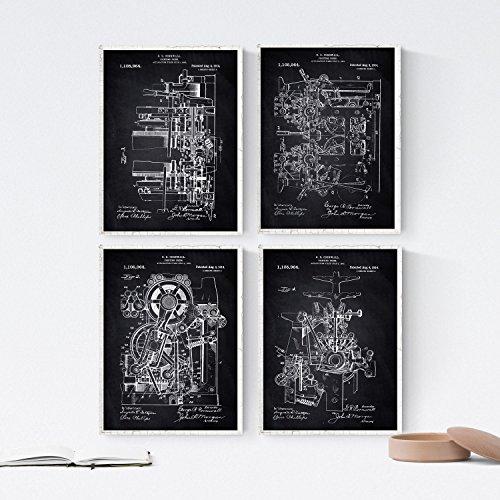 Nacnic Negro - Pack de 4 Láminas con Patentes de IMPRENTAS.