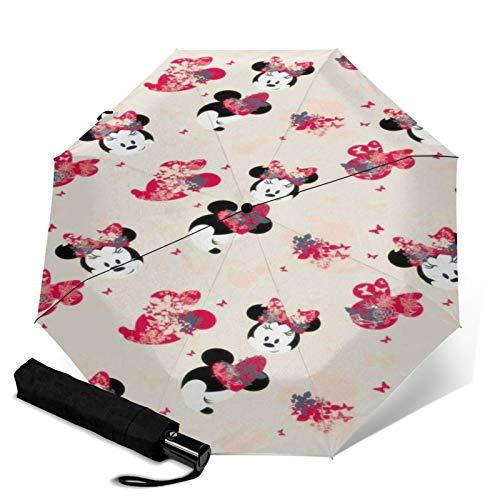 Paraguas Anti-Ultravioleta Compacto De Viaje Triple De Apertura/Cierre Automático, Sombrilla Plegable A Prueba De Viento para Exteriores, Cabeza de Mariposa de Minnie de Disney